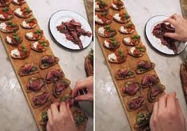 beef canape recipes crostini with roast beef parsley walnut pesto hush