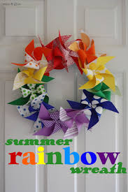 summer wreath summer rainbow wreath wine glue