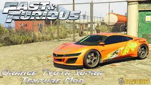 modded sports cars fast and furious orange toyota supra texture mod gta5 mods com