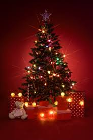 christmas tree with gifts on red background photo free download