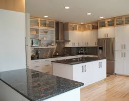 Dark Kitchen Cabinets With Backsplash Dark Brown Laminated Wooden Wall Mounted Cabinet Beige Tile