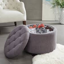 Storage Ottoman Gray by Coffee Table Fabulous Round Tufted Storage Ottoman Cocktail
