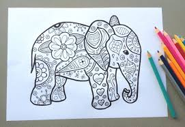elephant design colouring page colouring page kids