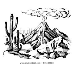 vector sketch volcano eruption smoke against stock vector