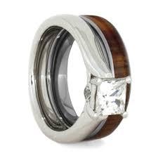 wood engagement rings wood bridal ring set moissanite engagement ring with wood wedding