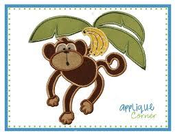 Monkey Sconces Applique Corner Monkey Swinging Large Applique Design Jumbo