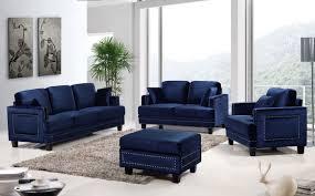 meridian furniture ferrara 655navy 4pc navy velvet sofa living