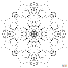 peacock mandala coloring page free printable coloring pages
