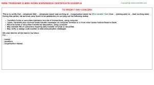 Clerk Job Description Resume Wire Transfer Clerk Job Title Docs