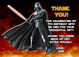 wars thank you cards wars darth vader thank you card personalized birthday