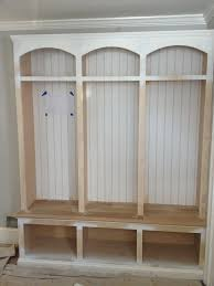 unfinished diy mudroom cubby design painted with white color ideas