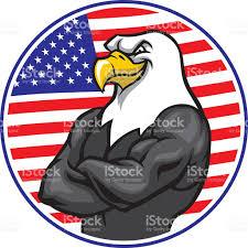 Flag Im Adler Maskottchen Zeigen Die Muskeln Mit Amerikanischen Flagge Im