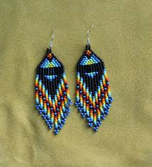 Ruby Red Long Brick Stitch Rainbow Blue Short Beaded Earrings Hand Made By Suzanne