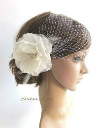 wedding veil headpiece white birdcage veil ivory flower