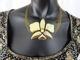 ethnic necklace jewelry images Statement necklace and ear rings gold glazed ceramic indian jpg