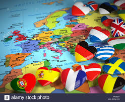 European Countries Map Travel Eu Concept Map Of Europe And Hearts With Flags Of European