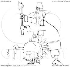 ready turkey thanksgiving clipart of a cartoon black and white pilgrim ready to chop the