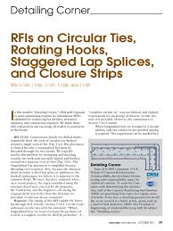 rfis on circular ties rotating hooks staggered lap splices and