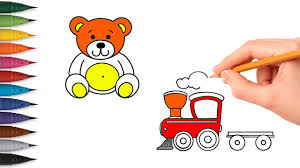 simple coloring pages how to draw and color teddy bear and train