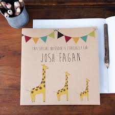 giraffe pattern notebook personalised giraffe notebook by lou brown designs