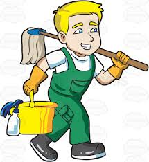 clean emoji a janitor on his way to clean a floor cartoon clipart vector toons