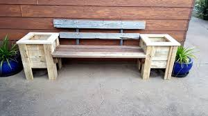Outdoor Table And Bench Seats Pallet Bench Seat And Planter Box 101 Pallet Ideas
