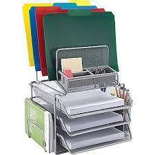 Paper Desk Organizer Staples All In One Silver Wire Mesh Desk Organizer 27642