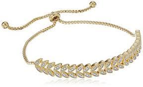 gold leaf bracelet images Sterling silver diamond accent leaf shaped adjustable jpg