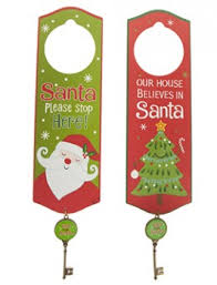 santa key santa or christmas tree novelty door hanger with magical metal key