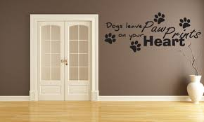 amazon com dogs leave paw prints on your heart vinyl wall art amazon com dogs leave paw prints on your heart vinyl wall art decals sticker home kitchen