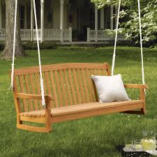 Lawn Swing Furniture Back Yard With Wooden Tree Swing Having Arm And Back