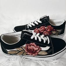 unisex custom rose floral embroidered patch vans sk8 hi low top unisex custom rose floral embroidered patch vans old skool sneakers