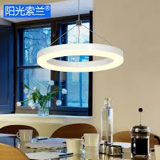 lustre bureau moderne simple led éclairage blanc anneau lustre pour salle à manger