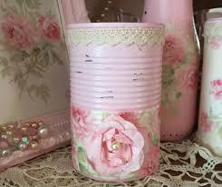 Pink Peonies Nursery Roses Decoupage Shabby Chic Pink Tin Can Vanity Boudoir Romantic