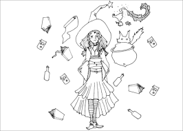 magical witch coloring free printable coloring