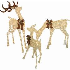 Lighted Sleigh And Reindeer by Holiday Time Christmas Decor Set Of 3 Woodland Look Deer Family