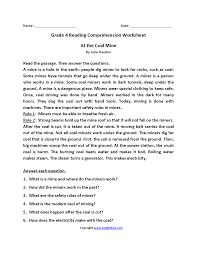 reading worksheets fourth grade reading worksheets