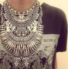 big necklace silver images Jewels silver necklace tribal pattern blouse big necklace jpg