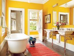Yellow Bathroom Ideas Yellow Wall Color With Rug And Classic Tub For Interesting