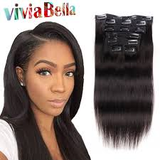 fine african american hair natural hair clip extensions human hair clip ins 7pcs set straight