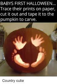 Pumpkin Carving Meme - babys first halloween trace their prints on paper cut it out and