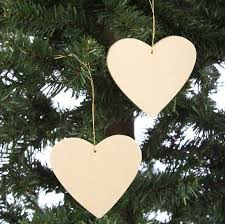 unfinished wood ornament 2 pieces wooden hearts