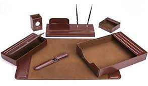 Office Desk Supply Majestic Goods Office Supply Leather Deskset Brown 7