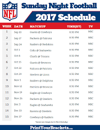 nfl sunday football schedule 2017 printable