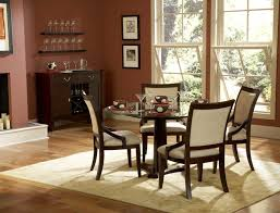 Western Dining Room Dining Room Four Chairs And A Round Glass Table In The Middle