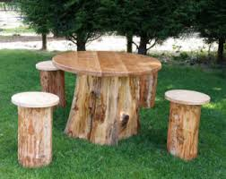 Patio Table Wood Garden Furniture Etsy