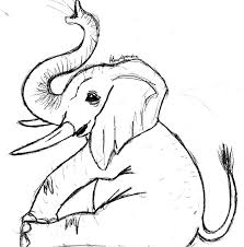 sketch of an elephant drawing pics clip art library