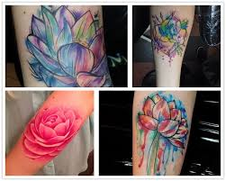 2014 terrific lotus watercolor tattoo on arm pink ink dripping