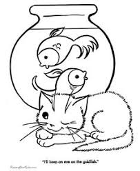printable animal coloring pages cat and fish bowl hand