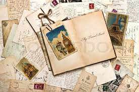 book travel images Old postcards letters mails and open journal with sample text my jpg